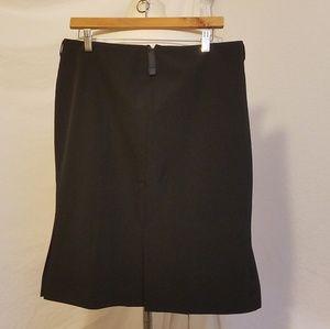 PRADA Black Pencil Skirt w/Front Leather Belt Loop